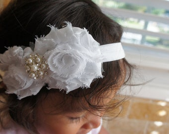 White Shabby Chiffon Fabric Flower Headband, Girl Headband, Baby Girl Headband, Infant Girl Headband, Newborn Girl Headband