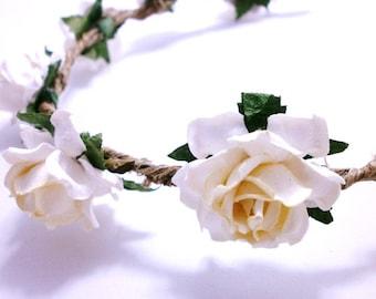 Rose Hair Crown White Flower Wedding Headband
