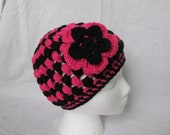 Striped Puff Hat With Flower Ready to ship
