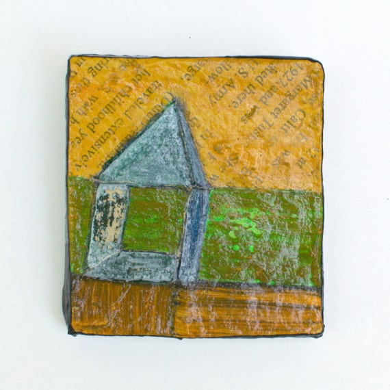 Mixed Media  - Paper Mache - miniature painting - Original Art -  naive painting - Abstract Landscape with house - yellow fields