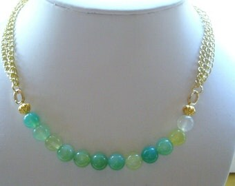SALE Shades of Green Agate Beads with 3 Strand Gold Chain Necklace