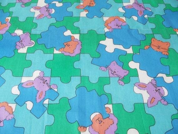 Animal Puzzle Pieces Fabric