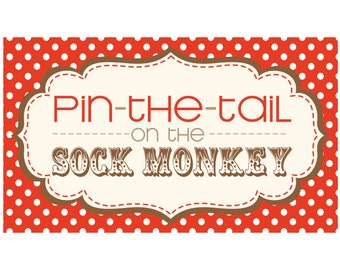PARTY GAME - printable Pin the Tail on the Sock Monkey
