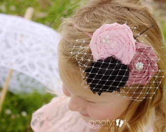 The Audrey Triple Rosette Flower Headband, with pearls, rhinestones, French netting embellishments,