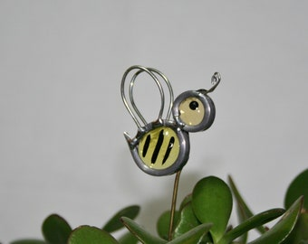Stained Glass Bee Plant Stake, Bumble Bee Garden Art, ShellysGlassStudio