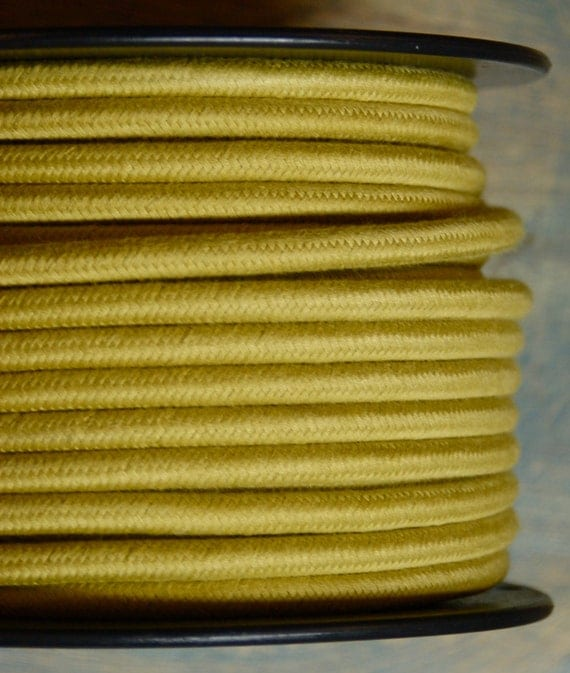 6 Feet: Yellow/Gold Cloth Covered 3-Wire Round Cord, Vintage Style Fabric Lamp Pulley Cord, For Hanging Pendants, Trouble Lights etc