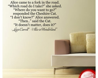 Alice in Wonderland - Cheshire Cat Quote vinyl wall decal