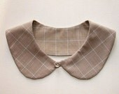 Peter Pan collar, plaid fabric, beige, blue