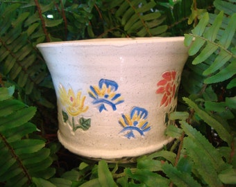Underglazed Coral, Indigo and Sunny Yellow Flowers and Green Vines on Flower/Cachepot