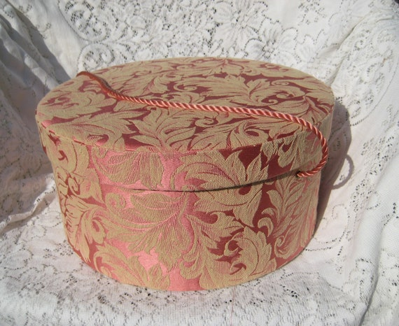 Vintage Hat Box Large Cloth Padded Damask Covered