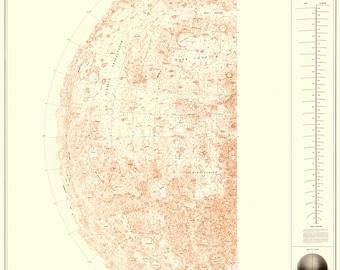 Moon poster, Astronomy print, Moon, Moon map, 103
