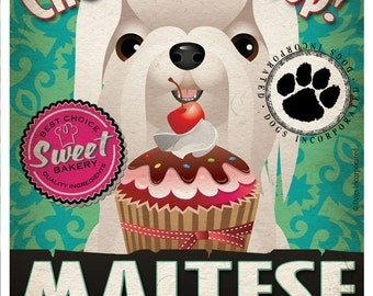 Maltese Cupcake Company Original Art Print - Custom Dog Breed Art - 11x14 - Personalize with Your Dog's Name - Dogs Incorporated