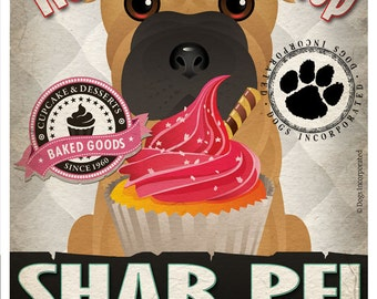 Shar Pei Cupcake Company Original Art Print - Custom Dog Breed Print -11x14- Customize with Your Dog's Name - Dogs Incorporated