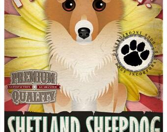 Dogs and Flowers Art Print - Shetland Sheepdog Art Print 11 x 14