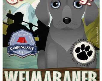 Weimaraner Wilderness Dogs Original Art Print - Personalized Dog Breed Art -11x14- Customize with Your Dog's Name - Dogs Incorporated