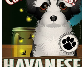 Havanese Wilderness Dogs Original Art Print - Personalized Dog Breed Art -11x14- Customize with Your Dog's Name - Dogs Incorporated