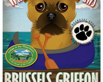 Brussels Griffon Wilderness Dogs Original Art Print - Personalized Dog Breed Art -11x14- Customize with Your Dog's Name - Dogs Incorporated