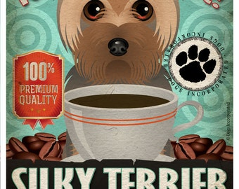 Silky Terrier Coffee Bean Company Original Art Print - 11x14- Personalize with Your Dog's Name