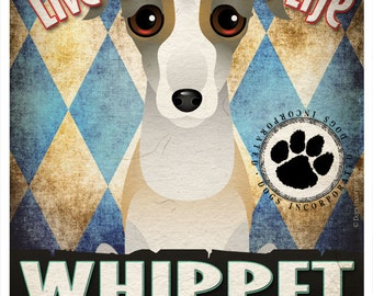 Whippet Pampered Pups Original Art Print - 11x14 - Dog Poster - Dogs Incorporated
