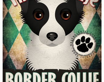 Border Collie Pampered Pups Original Art Print - 11x14 - Dog Poster - Dogs Incorporated