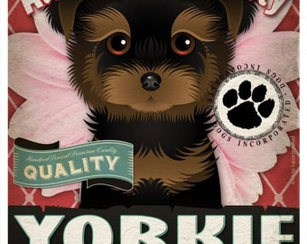Dogs and Flowers Art Print - Yorkshire Terrier Art Print 11 x 14