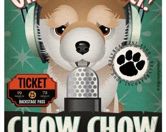 Chow Chow Recording Studio Original Art Print - Custom Dog Breed Poster - 11x14
