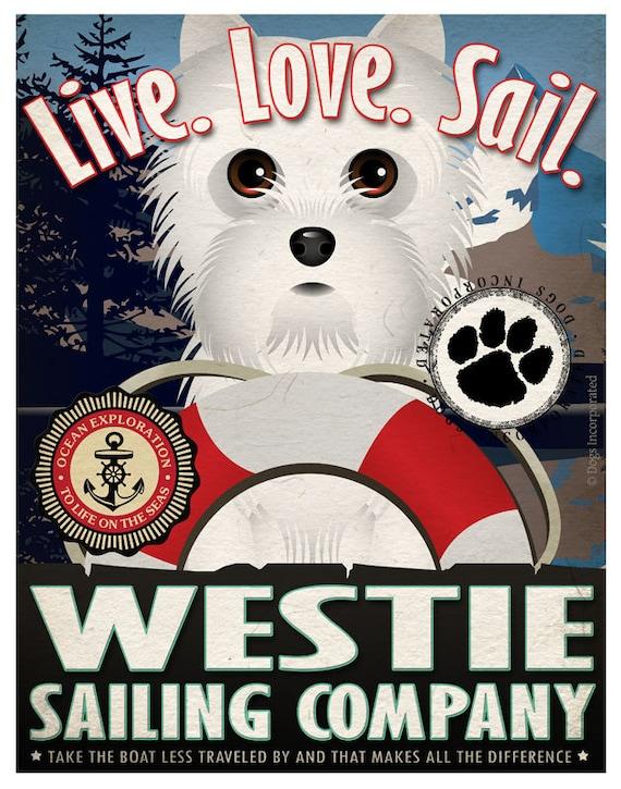 Westie Sailing Company Original Art Print - 11x14 - Customize with Your Dog's Name
