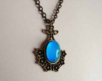 Mood Necklace - Antique Brass - Mood Stone 14x10 mm