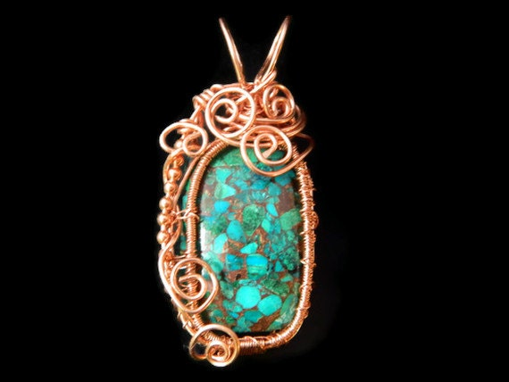 Wire wrapped heady pendant necklace blue green copper CHRYSOCOLLA gemstone