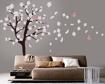Tree Wall Decal - White Cherry Blossom Wall Decal - Cherry Blossom Decals - Flowers Blowing In Wind