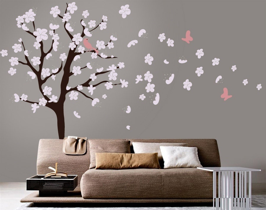 Tree wall decal white cherry blossom wall decal cherry for Cherry blossom tree wall mural