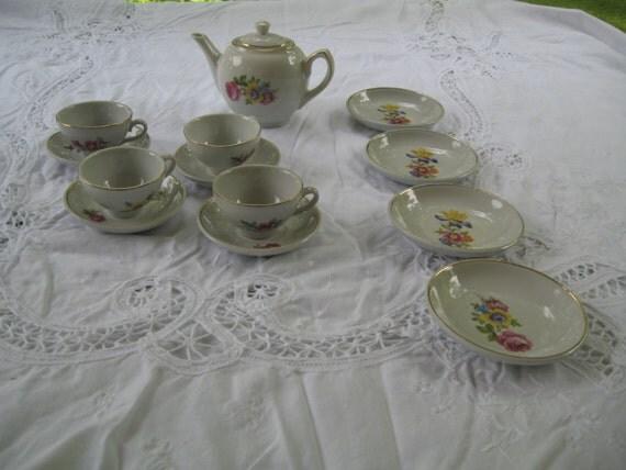 Porcelain Floral Tea Set East Germany 14 piece Childs Toy Doll