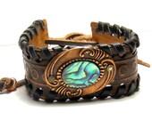 Paua Shell Leather Stamped Cuff Bracelet  Bohemian Jewelry