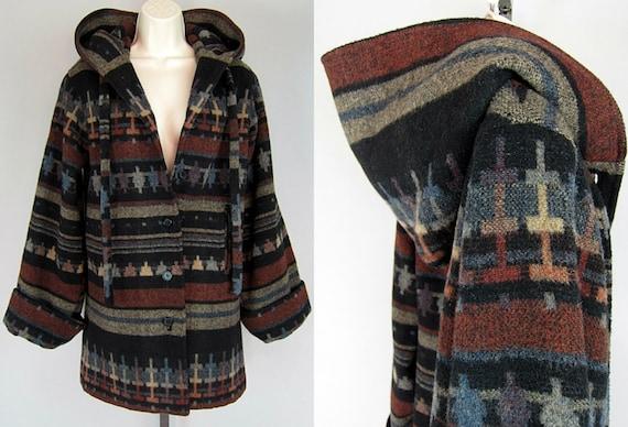 Vintage 70s Ethnic SOUTHWESTERN Wool Navajo Hooded INDIAN BLANKET Jacket Coat