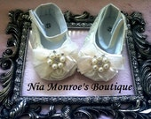 Beautiful Princess Ivory Rosette Crib Shoes - Infant - Girls Shoes - Baby Booties  - Available in 3 Sizes