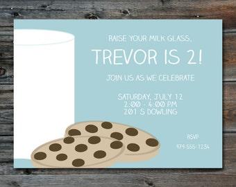 Milk & Cookies Birthday Invitation