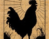 WAKE UP ROOSTER Hen Silhouette Animal Bird Digital Image Download Fabric Transfer Iron On Pillows Printable Graphics Totes Paper Crafts An50