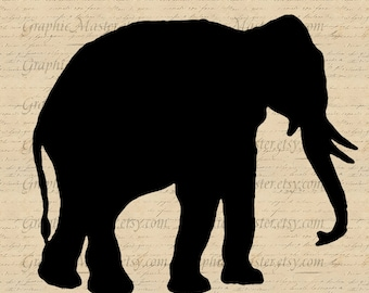 Elephant Silhouette Animals Printable Graphics Digital Collage Download Iron On Transfer Fabric Tote Bags Burlap Pillows Tea Towels An66