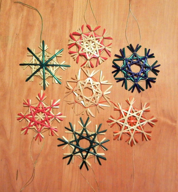 Set of 4 Traditional German Straw Star or Snowflake Ornaments - 2.75 in - natural and colored