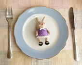 Pocket Bunny Violet Miniature Toy  Hand Made