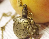On Sale-Vintage warm lovely Sea Turtle Pocket Watch Necklace Chain Pendant D038 - AirTears