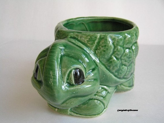 Vintage Turtle, ceramic, green, child or nursery, home decor, candle holder, planter, too cute