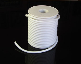 Rubber cord, 4mm, solid, white, 10 feet