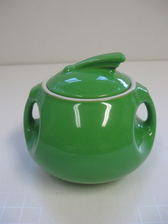 Vintage Hall Sugar Bowl// Art Deco// Green// Rare