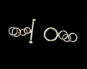 Tiny Silver Toggle Clasp with extra rings from Bali, 7mm Ring, 12.5mm Plain Toggle, Choose Quantity, ST-21