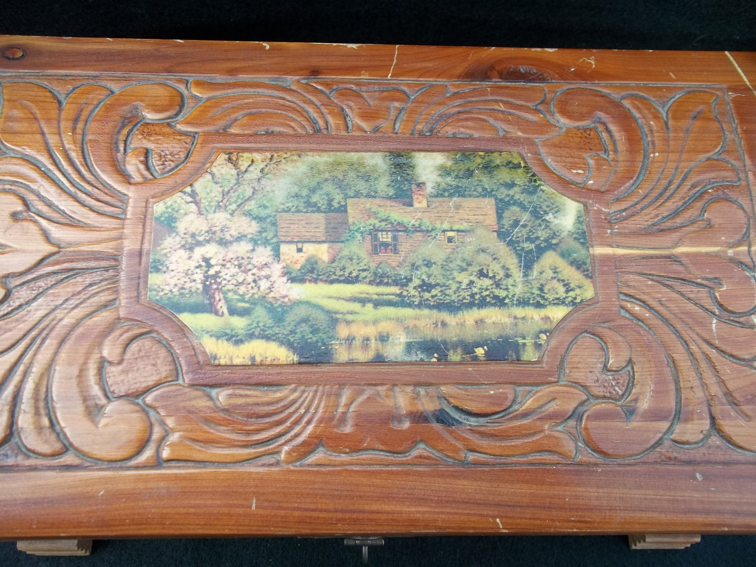 Antique Carved Wooden Box With Mirror Inside And Landscape