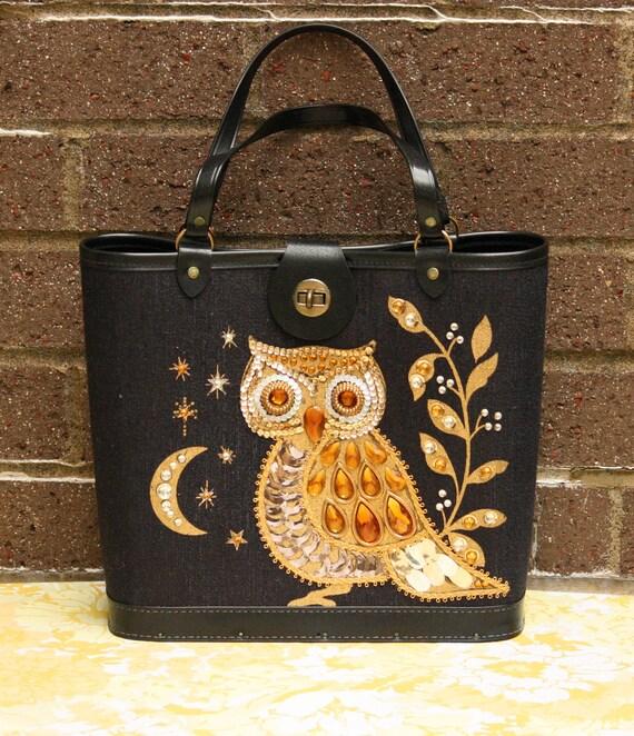 Vintage Black Gold Owl Bird Branch Moon Jewel Tone Handbag Purse Like Enid Collins Retro 1960s Wood Bottom