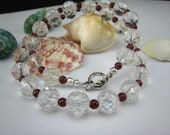 Rock crystal and garnet necklace