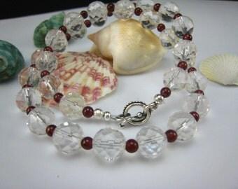 Rock crystal and garnet necklace