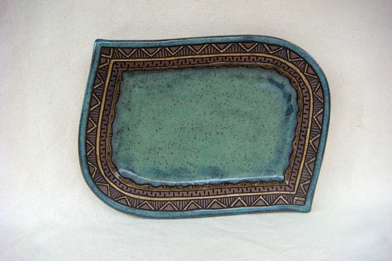 Pottery - Unique Hand Carved Serving Platter - Blue Green and Brown - 1324